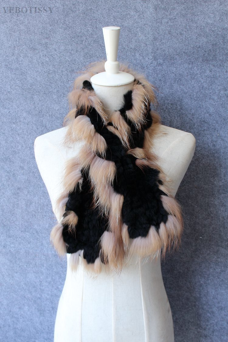 natural rex rabbit fur scarf silver fox fur (12)