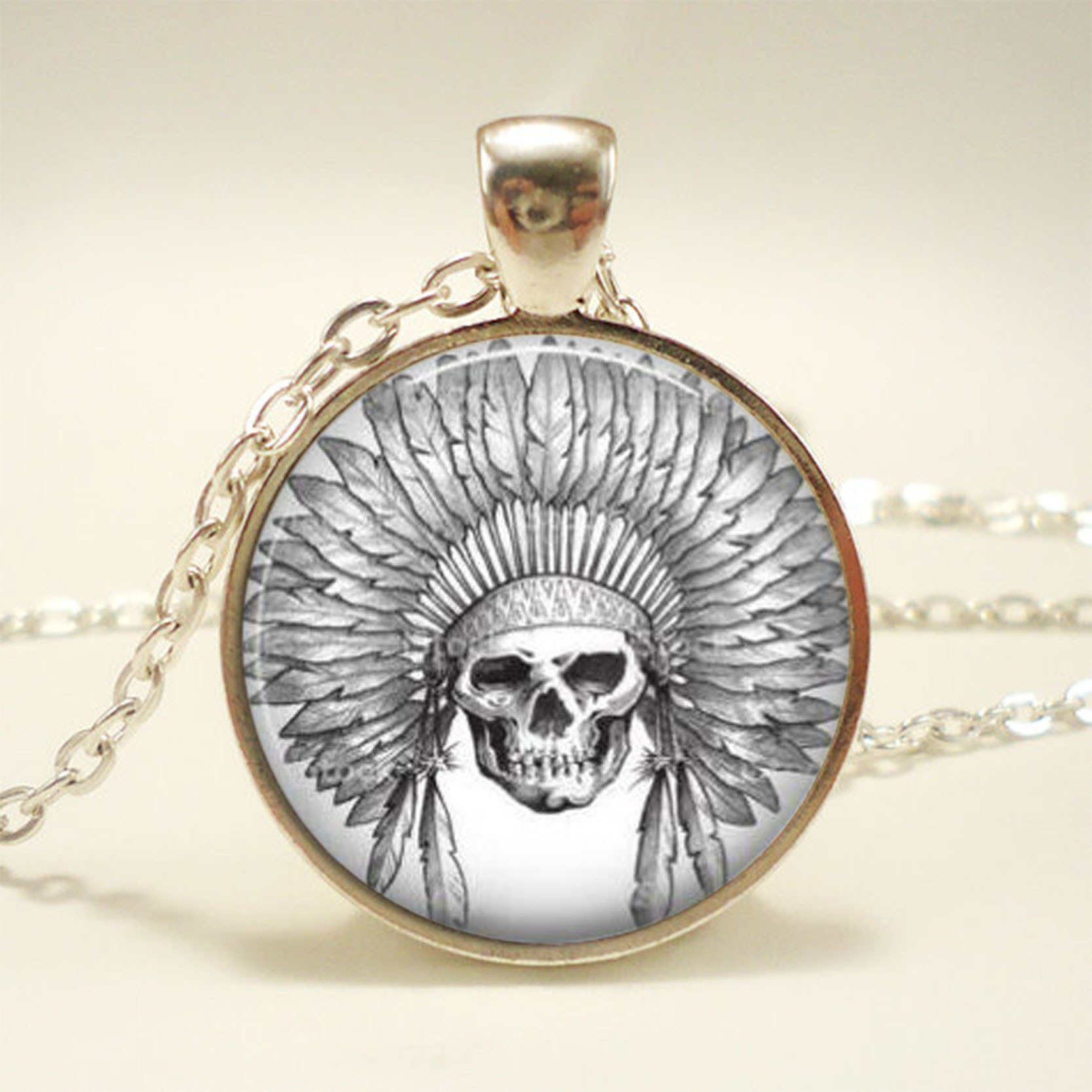 Vintage Skull Flower Photo Cabochon Glass Silver Chain Pendant Necklace