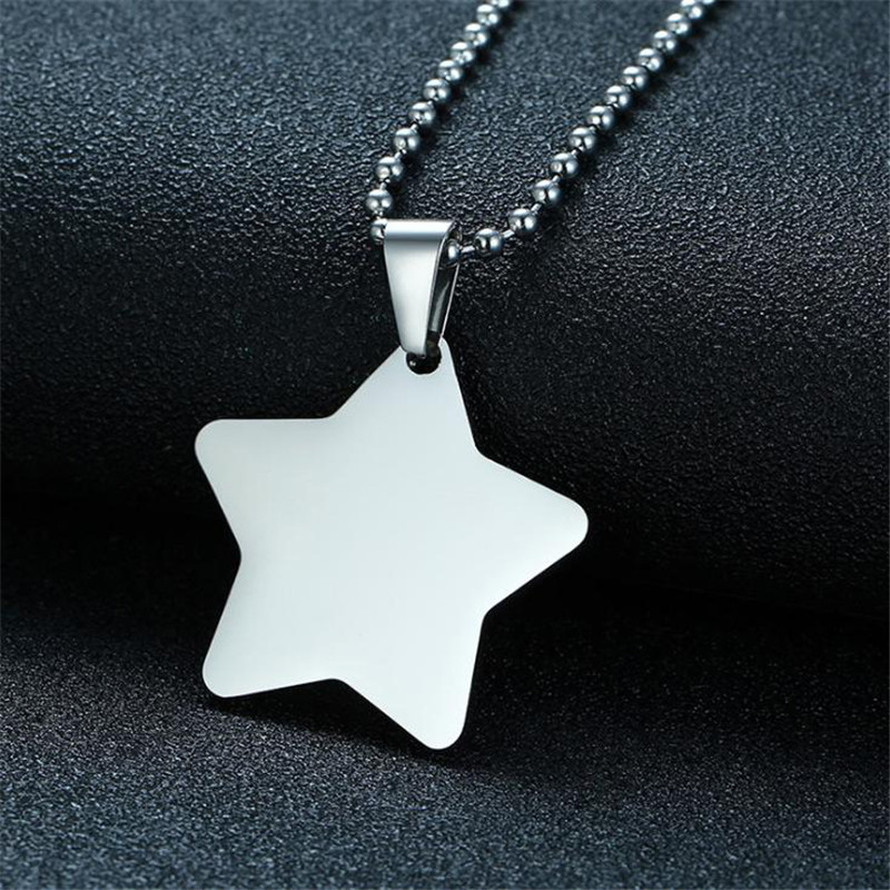 Simple Titanium steel five-pointed star pendant for Men high polished sliver color five-pointed star pendant friend jewelry gift