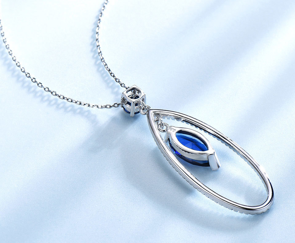 UMCHO Sapphire 925 sterling silver jewelry set for women S021S-1 (7)