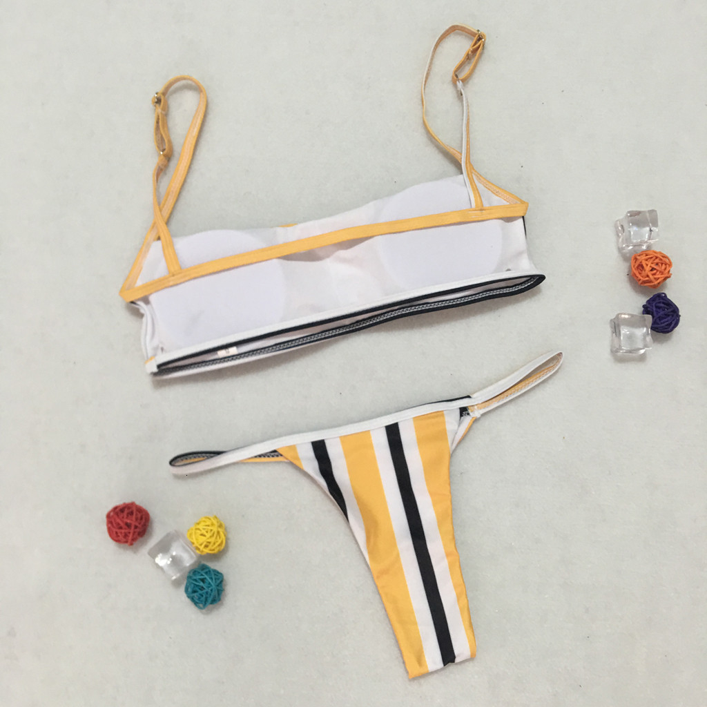 Women Striped Stripe Bikinis Fashion Push Up Padded Bra Beach Set Bikini Swimsuit Beachwear Swimwear Low Waist Thong Biquini 2019