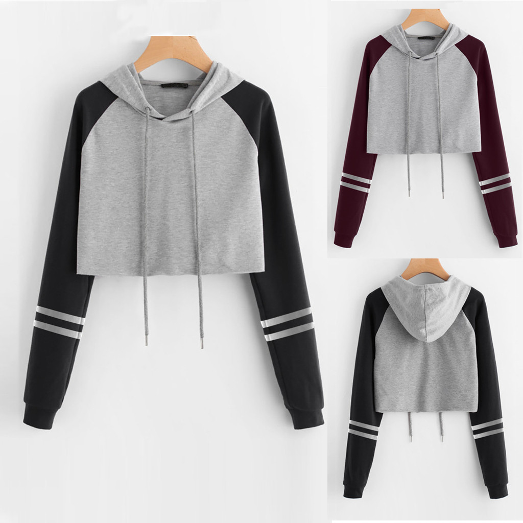 Yayu Womens Long Sleeve Fall Winter Stripes Hood Outwear Hoodies