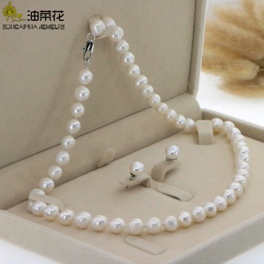 LONG 35 INCHES 8-9MM WHITE AKOYA CULTURED RICE PEARL REAL PEARL NECKLACE