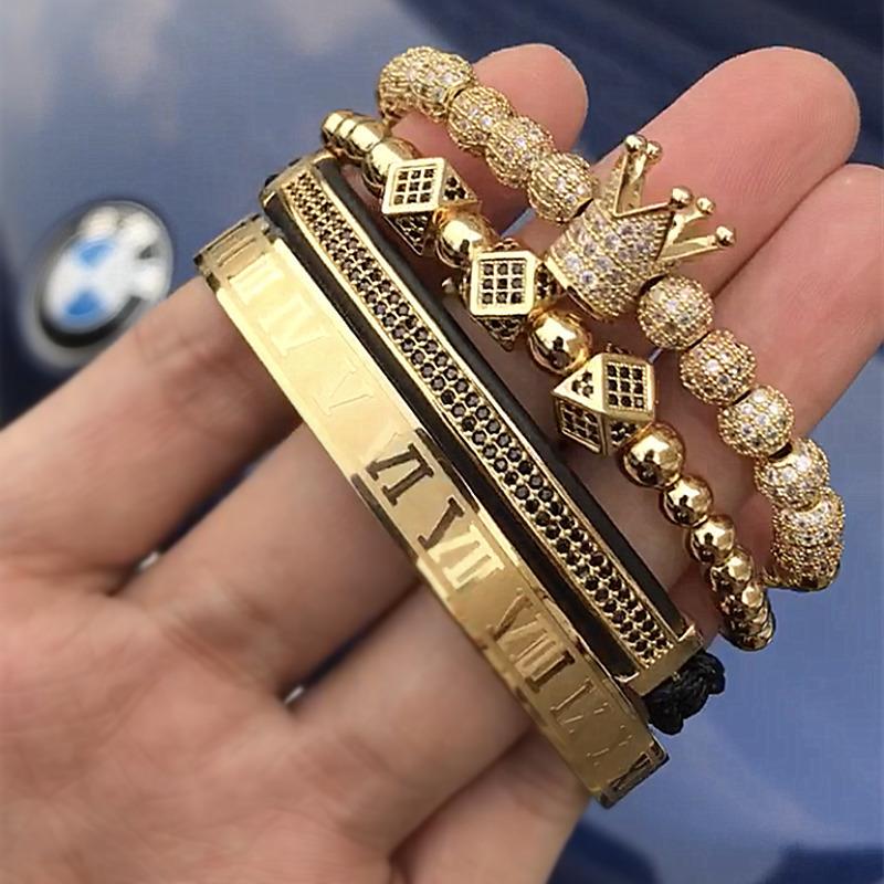 4 unids / set Clásico Pulsera de Trenzado Hecha A Mano de Oro Hip Hop Hombres Pavimenta Cz Circón Corona Número Romano Pulsera Joyería de Lujo J190625