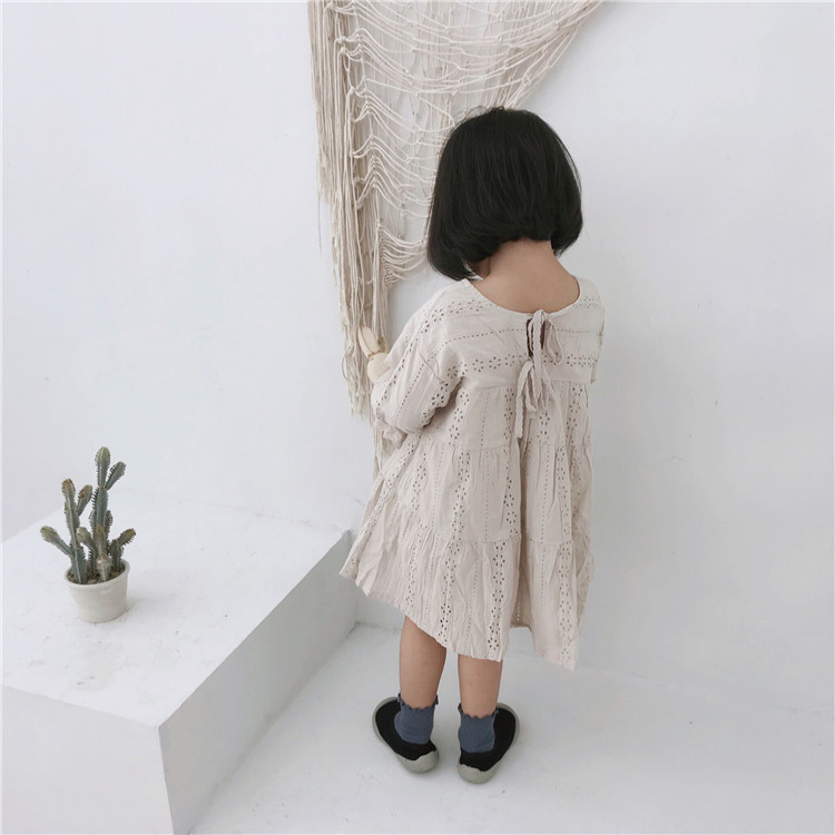2019 Autumn New Arrival korean cotton A-line style pure color princess all-match Long Sleeved Dress for cute sweet baby girls