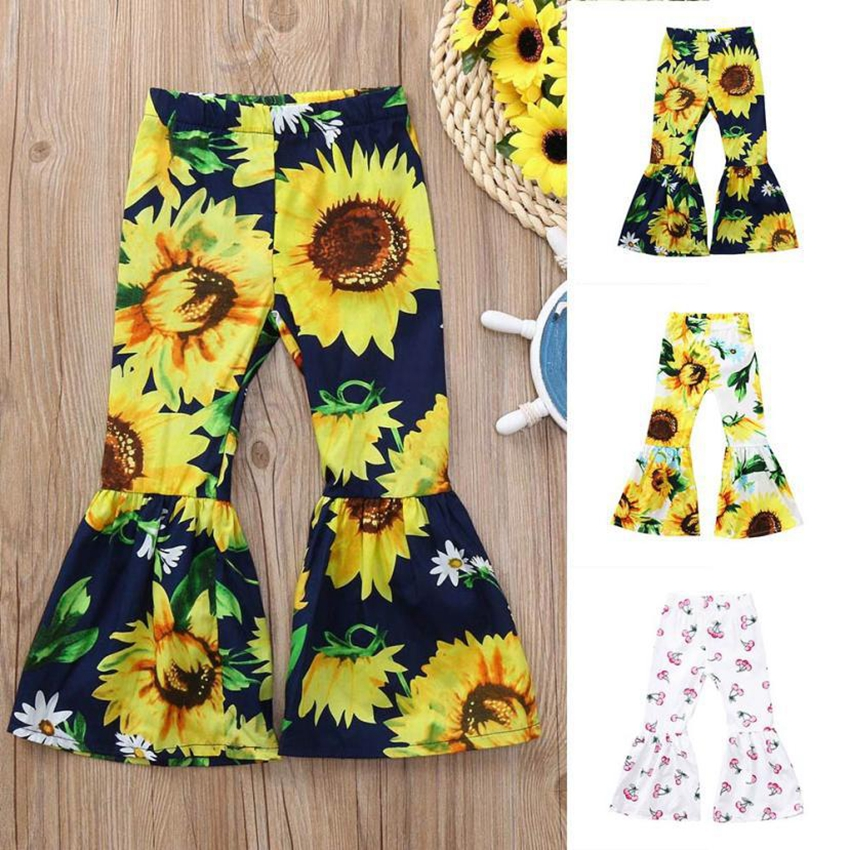 Sunflower Flare Pants Outfits Set Efaster 2Pcs Kids Girls Solid Top T-Shirt