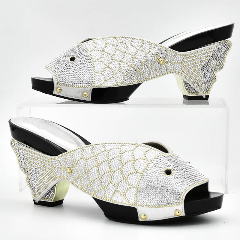 Designer Sliver African Shoes For Women Larges Size Shoes Women Open Toe Slip On Sexy Ladies Shoes Party Wedding Low Heels Women Pumps