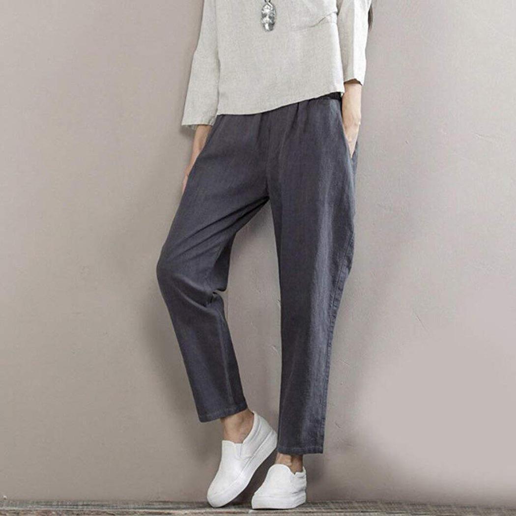 Mode Femmes taille élastique Casual Loose Fit Longueur de la cheville Pantalon Casual Pantalon solide New Wear