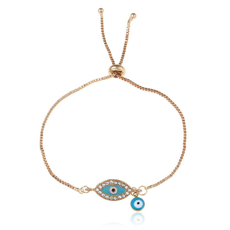 2019 Good Luck Hamsa hand Charm Blue Evil Eye Bracelet Jewelry Turkey Fatima Hand Handmade Gold Color Chain for woman gift