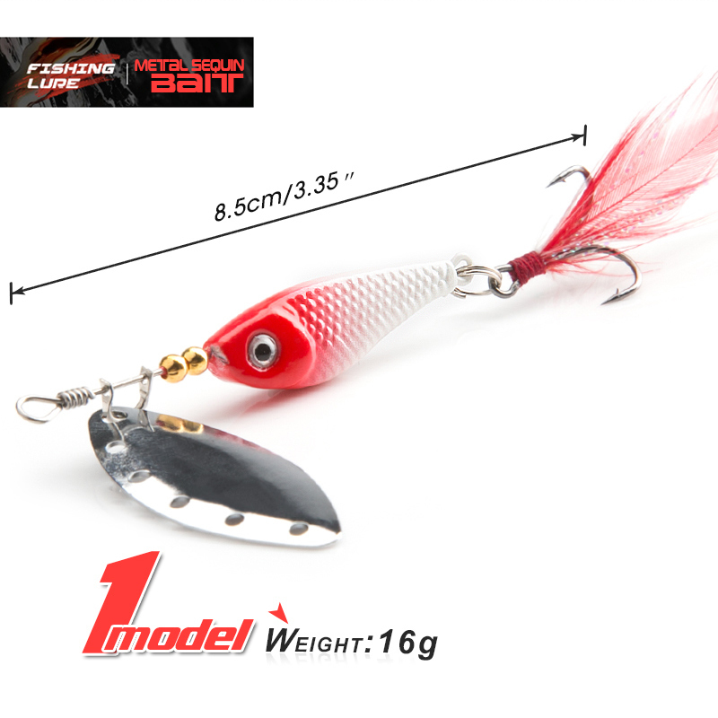 DONQL Spinner Metal Spoon Fishing Lure 13g 16g Sequin Artificial Wobbler Fishing Bait With Strong Treble Hooks Mepps Lures (4)