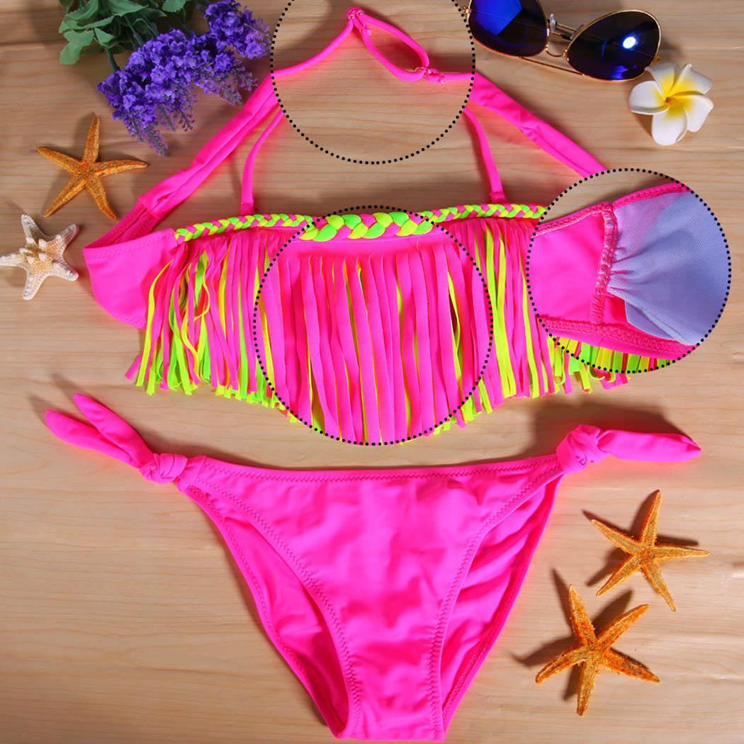 Новая мода Новые Дети Девушки Summer Sexy Купальник бикини Set кисточкой для купания Пляжная Купальники Sexy Купальники