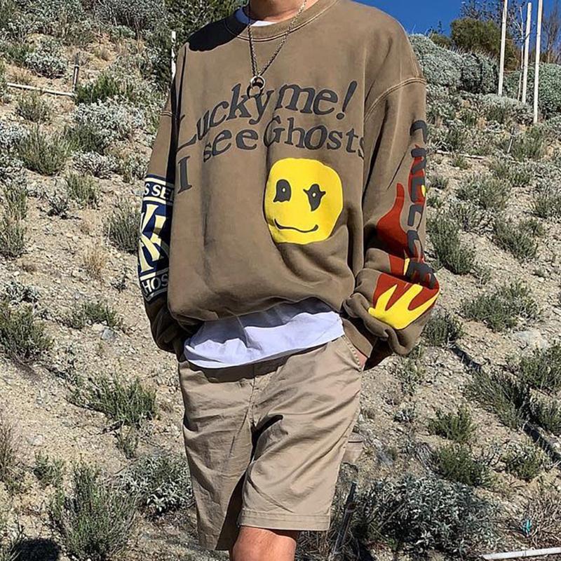Kanye West Sweatshirts Lucky Me I See Ghosts CPFM Sweatshirts Casual Fleeced Pullovers for Men Women Hip Hop Skateboard Streetwear