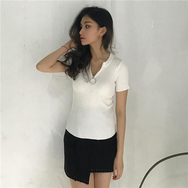 Roupas Femininas T Shirt Mulheres Verão Estilo coreano Mulheres Temperamento Todos Jogo Zipper 2019 Harajuku Casual Anel Knitting V Neck camisetas