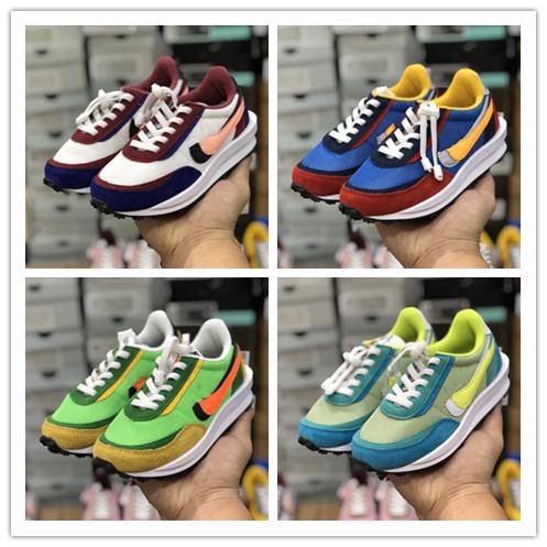 2020 New Kids Running Shoes Sacai X LDV Waffle Sneaker Boy Girls Triple Black White Boy Girl trainers sports sneakers Size 22-35