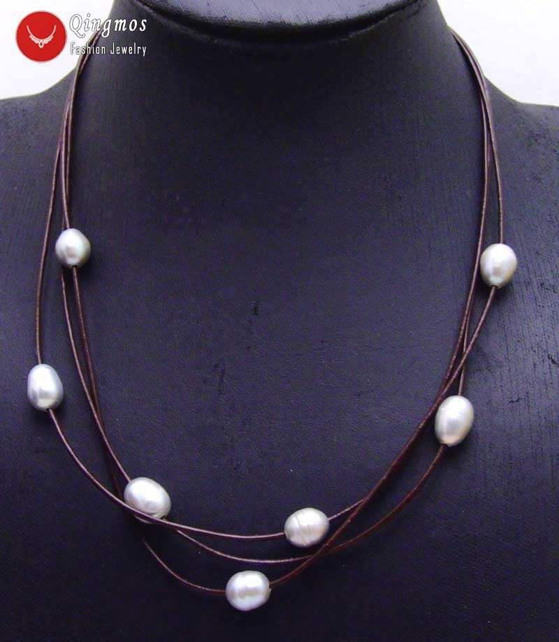"""Natural 3-Strand 6-7MM  White Pearl Necklaces A+ 17/""""18/""""19/"""""""