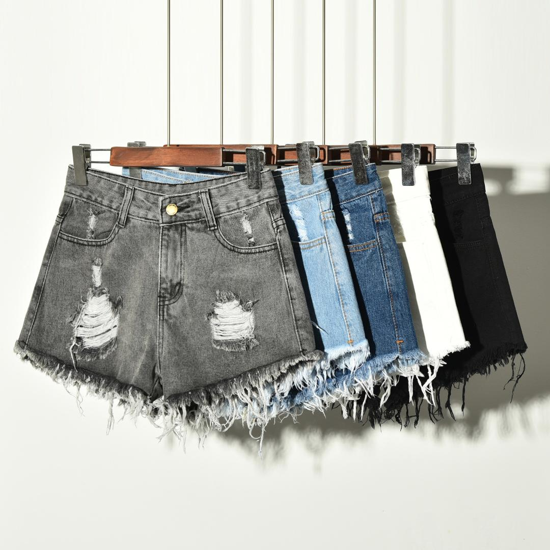New Woman/'s Algodón señoras Azul Negro Denim Verano Shorts Tallas Pequeñas A