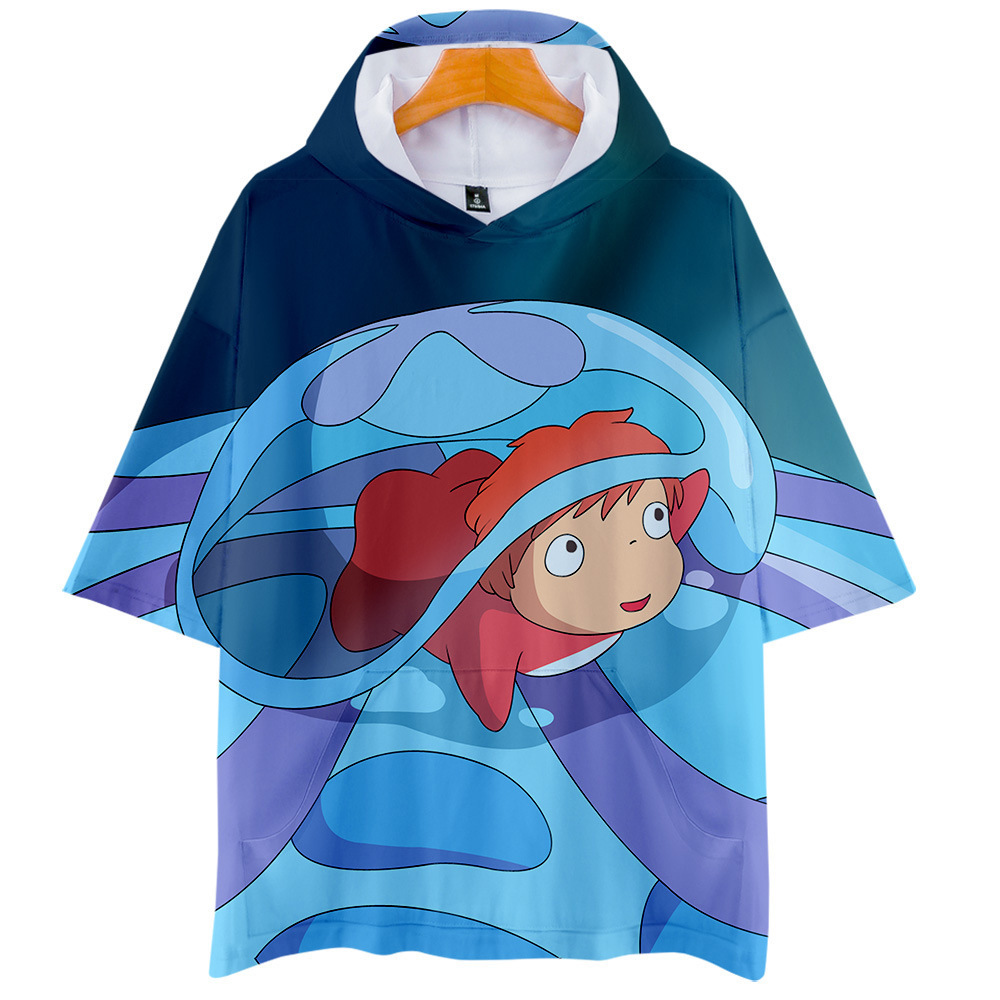 Steep Cliff On Real Goldfish Woman  Ponyo And Zongjie  3d Bring Hat Short Sleeve T Pity Men And Women