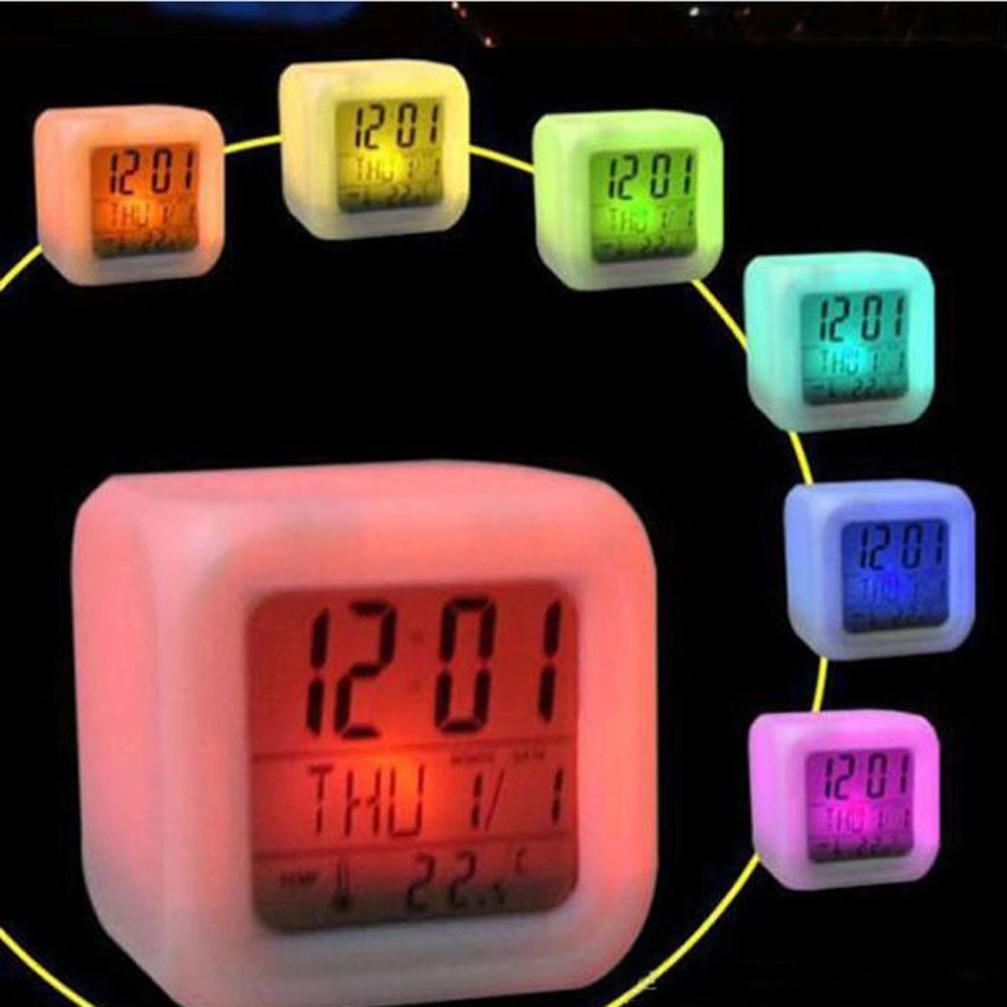 Black Horse Sunset LED Digital Alarm Clock Color Changing Thermometer