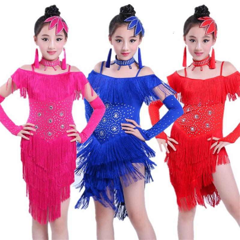 YiZYiF Traje de Danza Latina Ni/ñas Vestido de Baile Latino Flamenca Borlas con Accesorios 4Pcs Chicas Disfraz de Bailarina