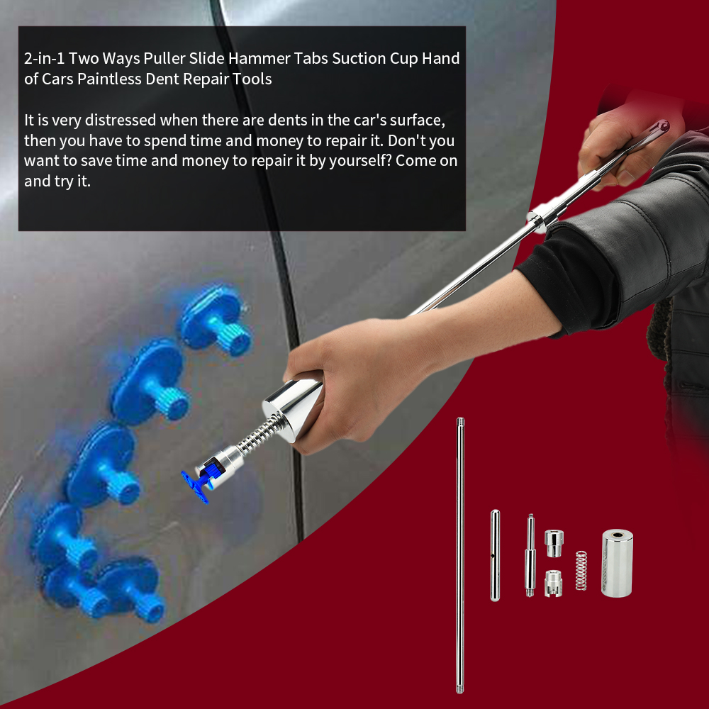 Cars Paintless Dent Repair Tools 2-in-1 Two Ways Puller Slide Hammer Tabs Suction Cup Hand
