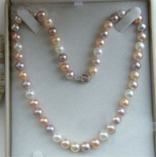 Women/'s 7-8MM Natural White Akoya Cultured Pearl Green Jade Necklace 18/'/' AAA