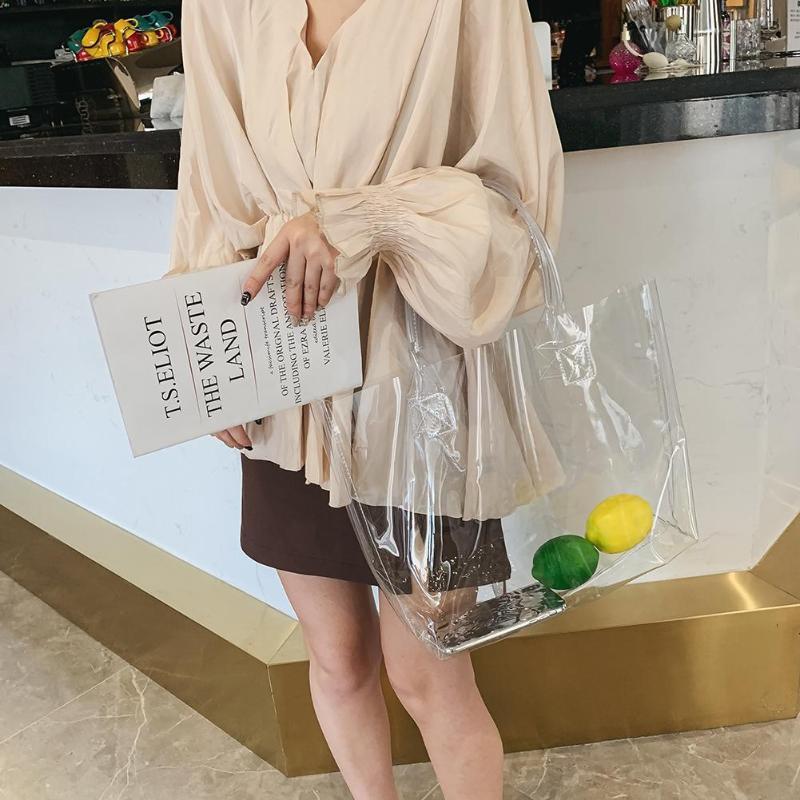 Clear Transparent Pvc Shoulder Bags Women Jelly Bags Purse Large Casual Tote Solid Color Handbags Sac A Main Female Top Handbag