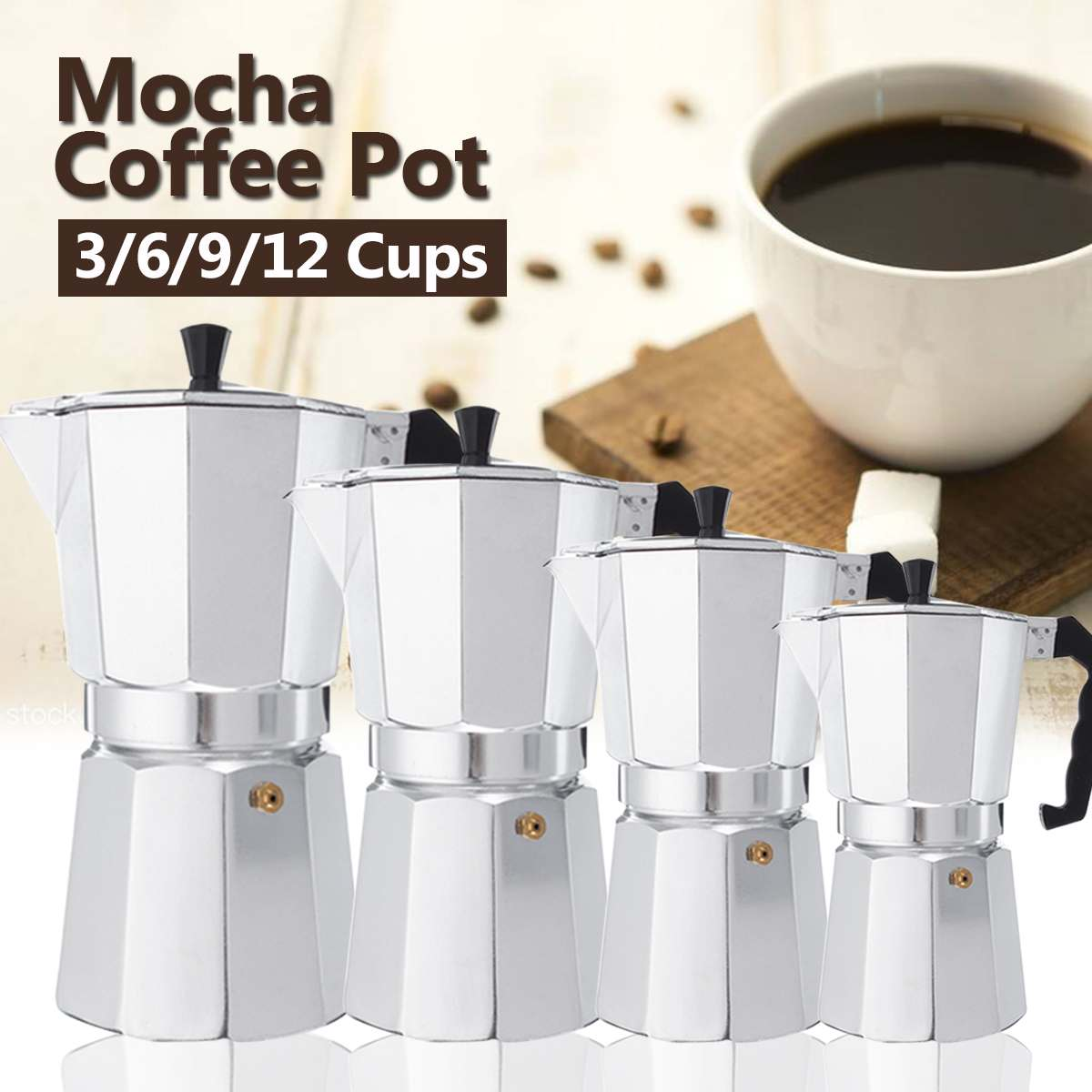 600ml Cafeteras Caf/é italianas Moka Pot Coffee Baking Caf/é Express Octagonal Aluminio