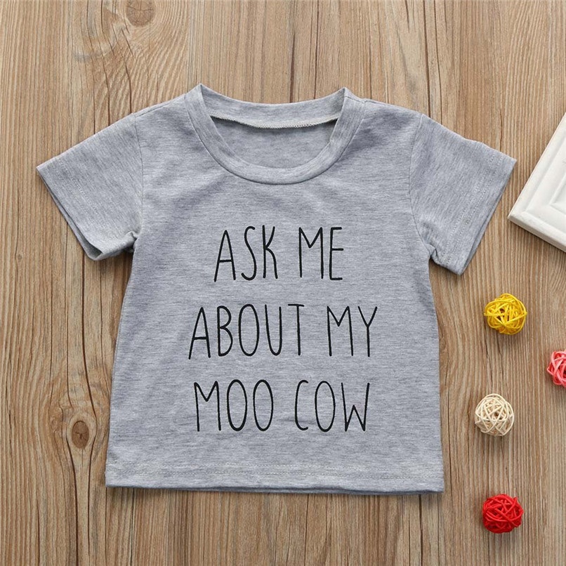 Summer Baby Boys Tops And Tees Toddler Kids Baby Boys Short Sleeve Letter Printing Tops T-Shirt Baby Boy Clothes M8Y18 (6)