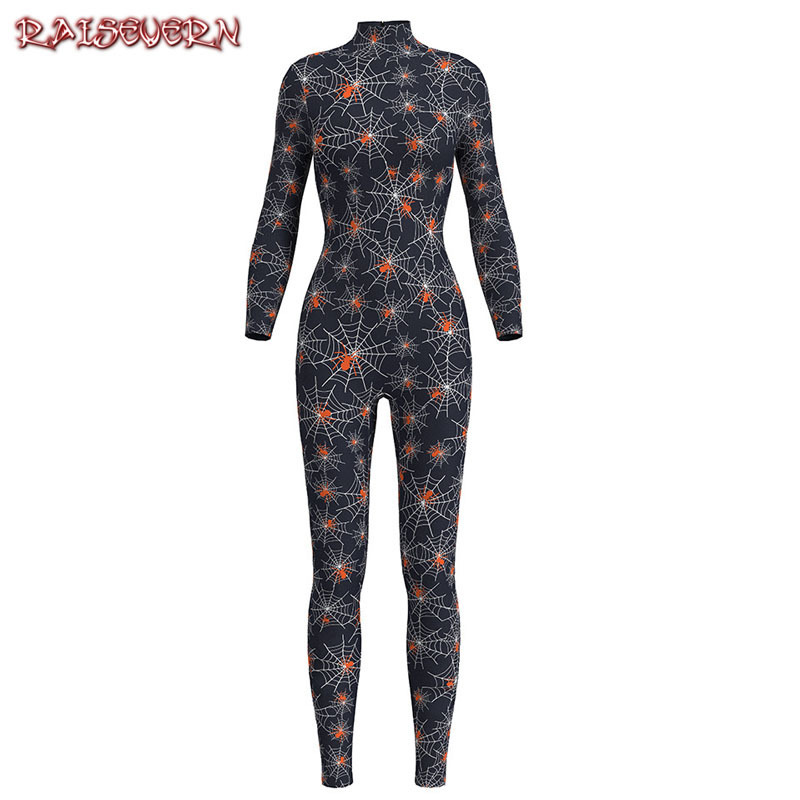 RAISEVERN Skull Print Colorful Long Jumpsuit Women 3D Spiderman Costume For Halloween Cosplay Funny Skinny Clothes 3D Rompers