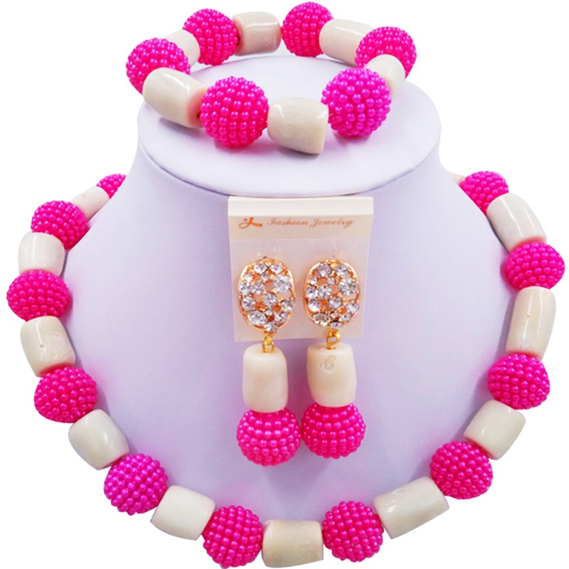 Jewelery Set Hotpink and White