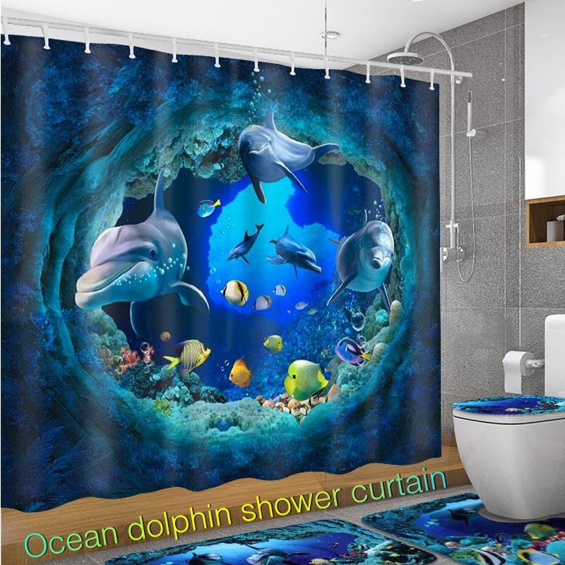 Deep-Sea Poisson Tropical Salle de bains imperméable rideau de douche 12 crochets /& Tapis de bain