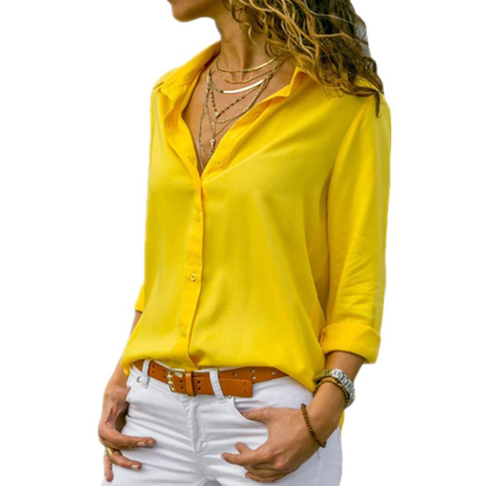 Женщины Желтый шифон блузка Sexy осень с длинным рукавом Кнопка Асимметричный рубашка Женщина рабочая одежда рубашка блузка плюс размер Wdc2096