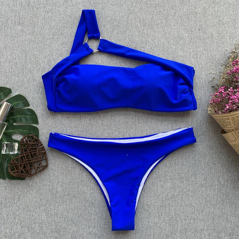 Solid Two Piece Set Lace Up Bandage Strap Slim Sexy Women Beach Bikini Swimsuit Swimwear Lingerie Lenceria Bra Bathing Suit New