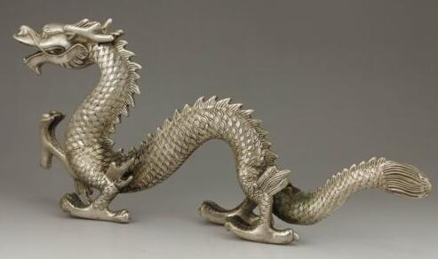 Exquisite CHINESE SILVER COPPER HANDMADE DRAGON /& RUYI STATUE