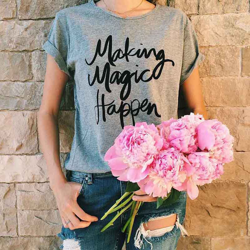 New--Summer-Women-T-shirt-Printed-Magic-Letters-Fashion-O-Neck-Short-Sleeve-Loose-Tee