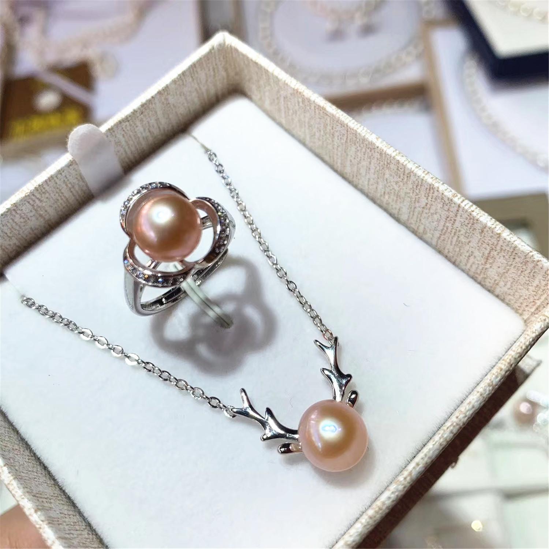 LetsFun d'acqua dolce naturale 9-10mm set di perla Catena Deer Elk orecchini collana del cerchio 925 insiemi Argento Orecchini