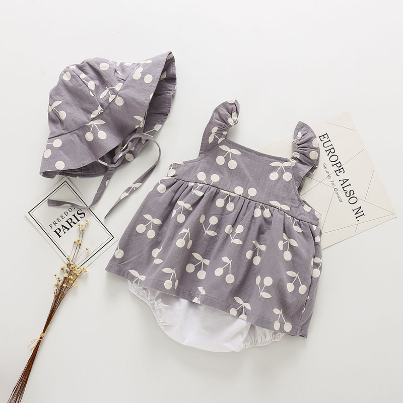 Baby Clothes Baby Rompers New Summer Clothes 2019 Spring Fashion Cute Cherry Prints Kids Clothing Rompers Dress With Hat Y19061201