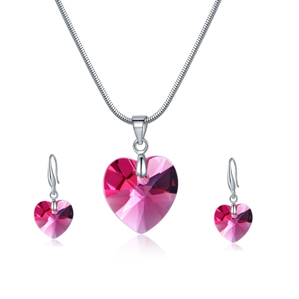 Rose stone swarovski crytal earring and necklace for fashion women