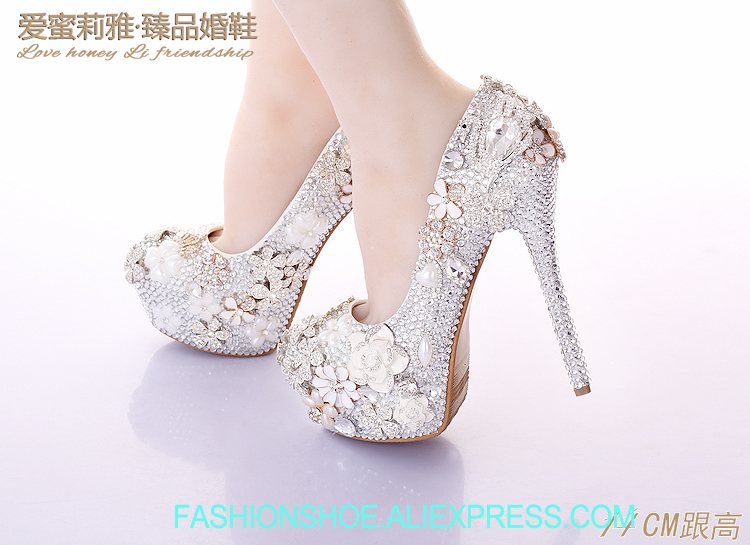 Wedding Shoes Women High Heel From China Bride Pumps Round Toe Metal Flowers Crystal Shoes Waterproof Applique Size 12 Blossom
