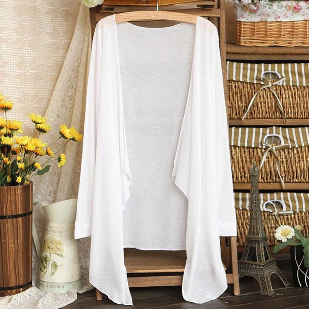 2019 Kadınlar Beyaz Bluz Casual Summer Sun Protection Kadınlar Uzun İnce Hırka Gömlek Streetwear Kadın Giyim Camisa Mujer Tops
