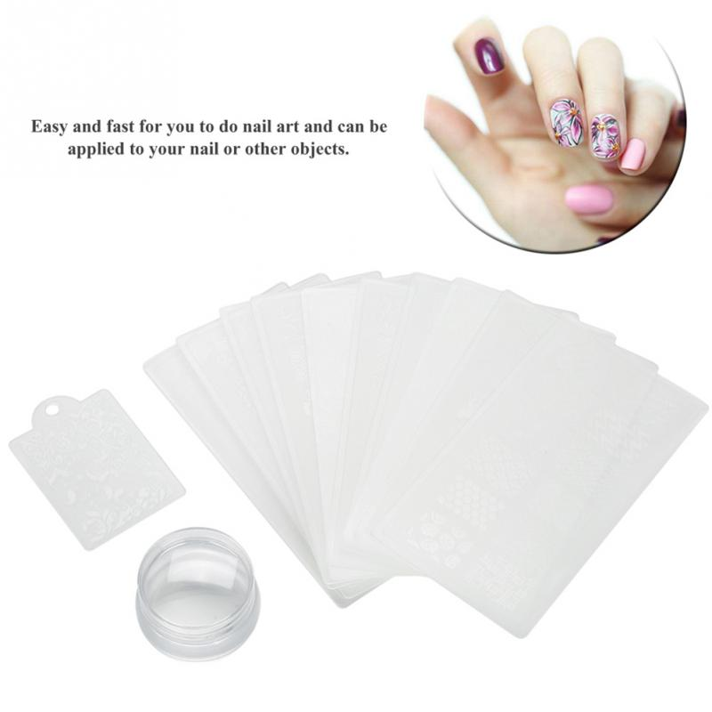 Nail Polish Transfer Stamper Scraper Template Set Silicone Polish Printing Manicure Transparent Design Nail Stamping Plate Tools