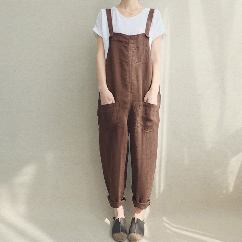 2019 Zanzea Women Strappy Bib Overalls Pockets Summer Cotton Linen Long Jumpsuits Casual Solid Dungarees Loose Rompers Plus Size Y19051501