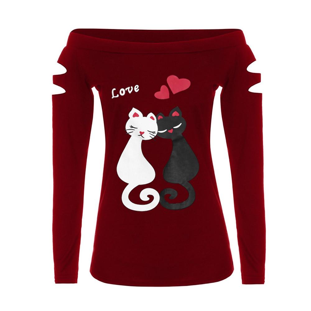 Neu-Shirt Polyester-Frauen-Damen weg von der Schulter-Katzen-Liebe-Druck toppt dropshipped 28. Juli