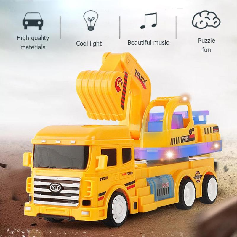 4 Channels RC Car Toy Remote Control Engineering Truck Vehicle Sound Lighting Excavator USB Charging Toys for Children Gift Toys