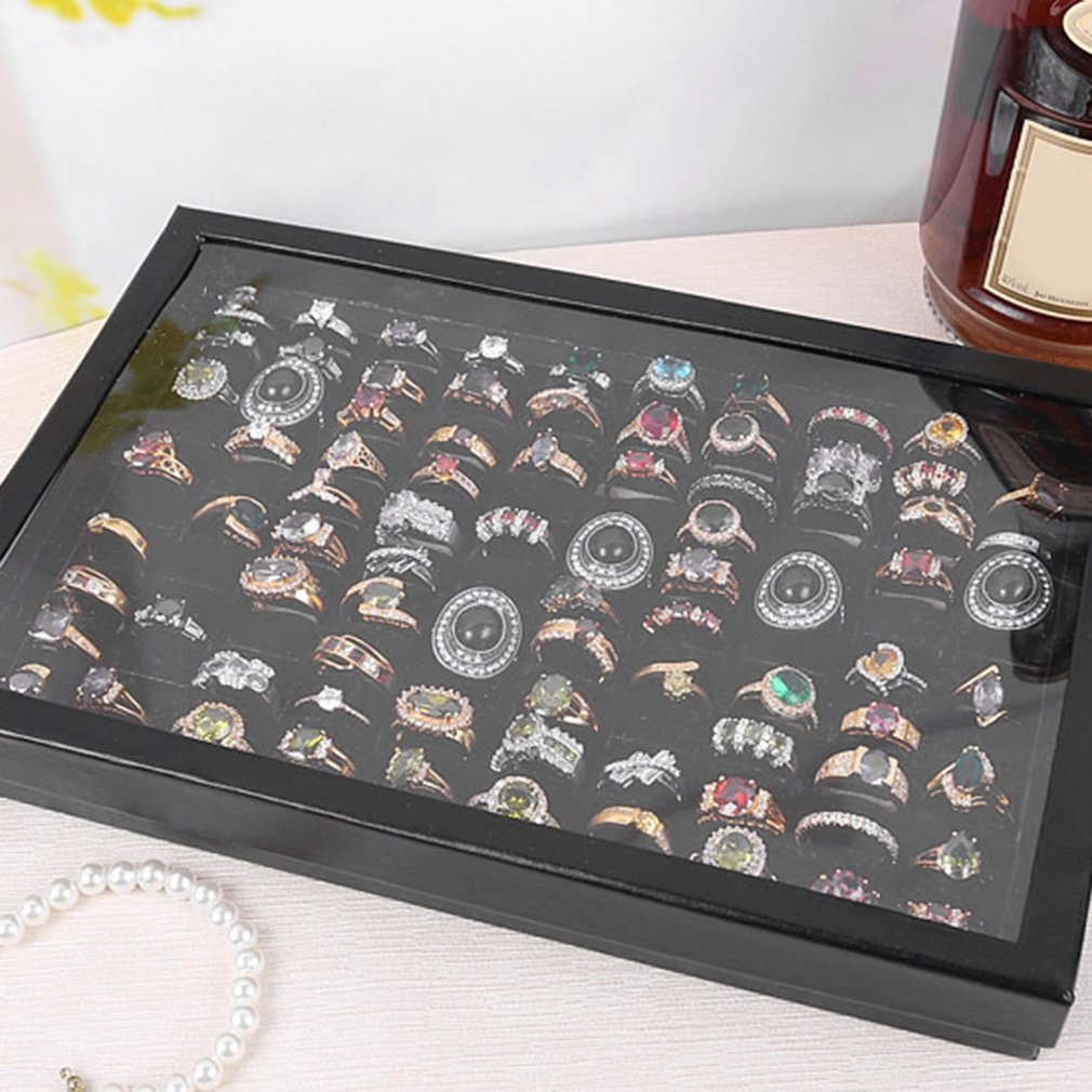 wholesale 100 Grids Ring Display Box Jewelry Tray Case Portable Jewelry Ring Carrying Tray Holder Cufflinks Storage Box Organizer