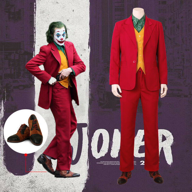 2019 Joker Shoes Joaquin Phoenix Black PU Leather  Halloween Movie Cosplay