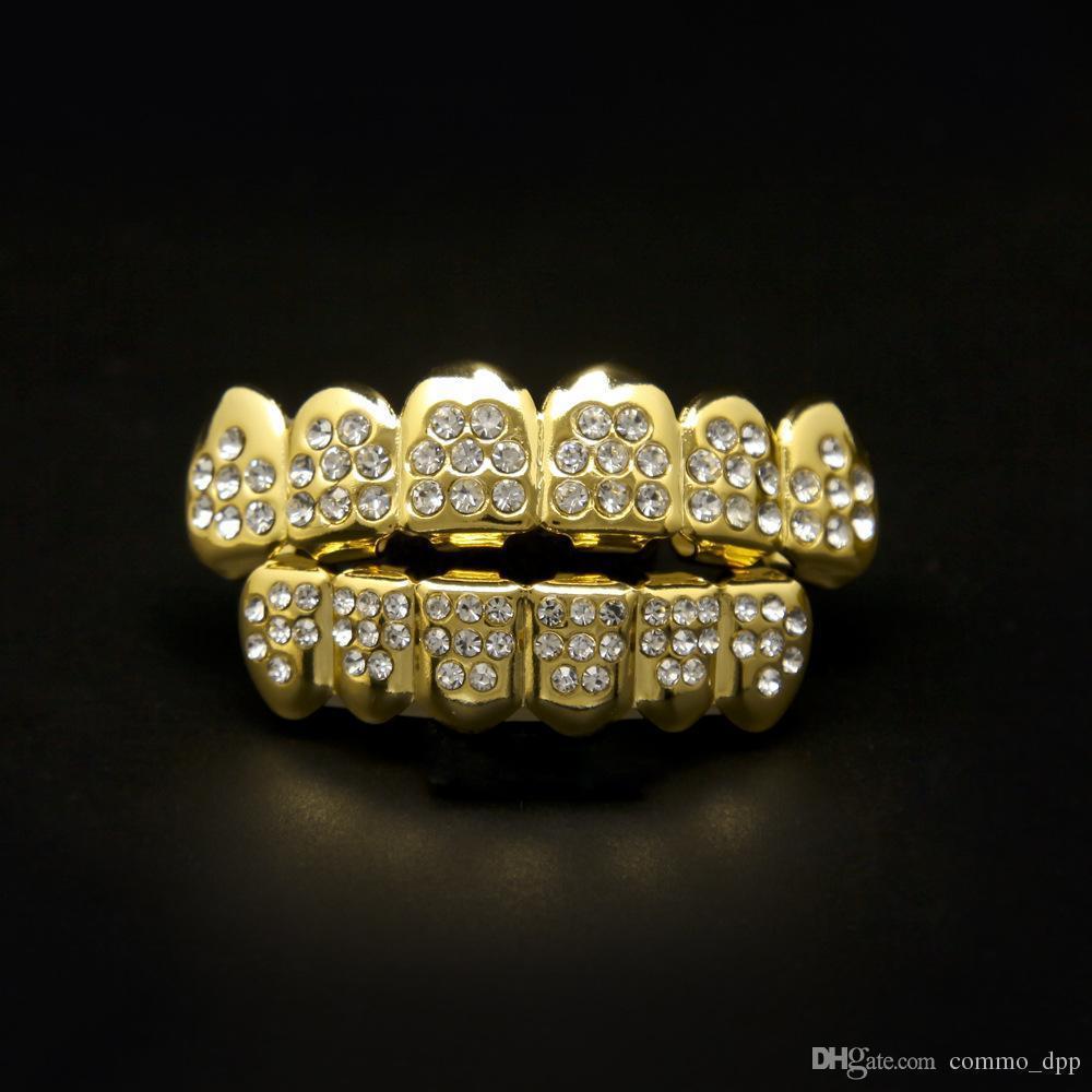 Hip Hop Or Argent 8 Diamants Dents Grillz Ensemble Bling Glacé Sur Faux Grills Dentaires Pour Femmes Hommes S Hiphop Corps Bijoux Accessoires