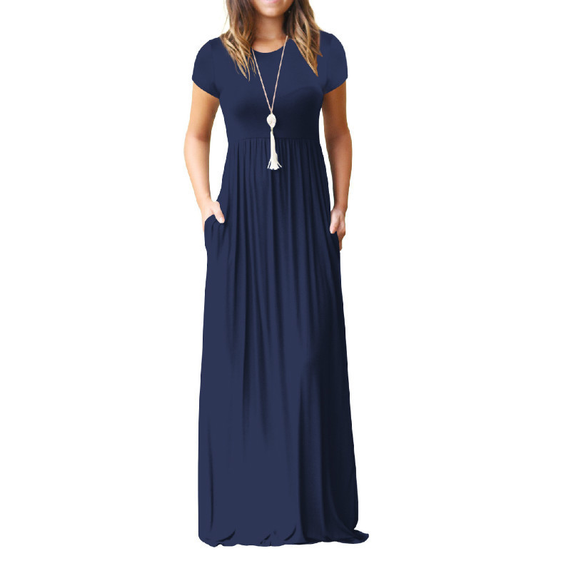 Summer Maxi Long Dress Women Clothes New Fashion Short Sleeve Solid Casual Dresses Cotton Femme Pockets Robe Solid Plus Size Xxl J190430
