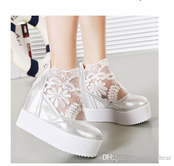 Sexy2019 ViVi Lena dulce encaje sandalias blancas Sandalias de cuña de plataforma alta Invisible Altura aumentada Peep Toe Mujeres Zapatos es