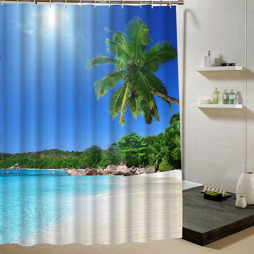 Beach Shower Curtain Palm Tree Summer Pattern Fabric Design 3d Bathroom Curtain Waterproof Blue Green C18112201
